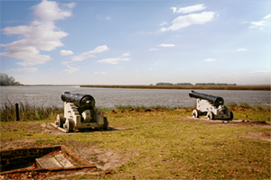 Cannons on the shore